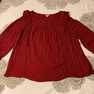 Cato long sleeve red ruffle top